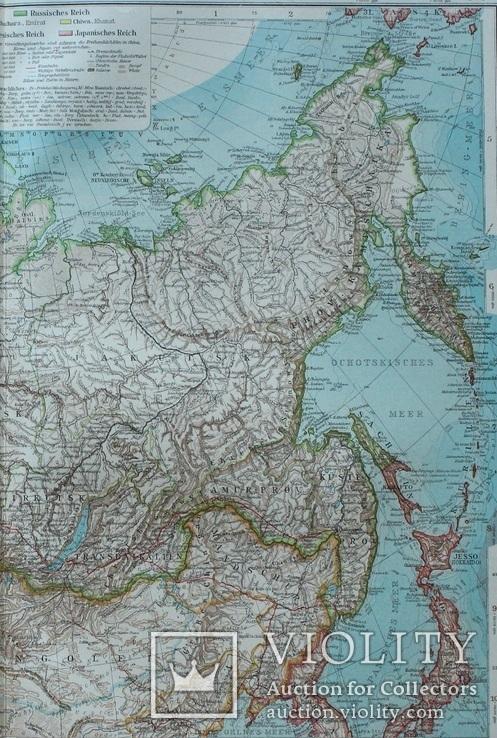 2 карты. Азия. Andrees HandAtlas. 1921 год. 56 на 44 см. (3), фото №9