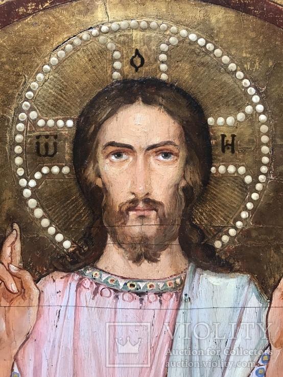 Иисус Христос - спаситель 19 век , с серебряными накладками, фото №3