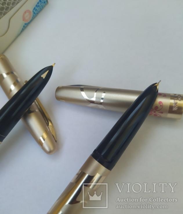 2 перьевые ручки, позолоченное перо, Китай (времен СССР), фото №5