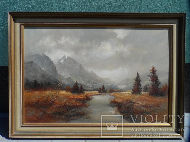Картина  Пейзаж Холст Масло Подписная 1,04 х 74 по раме Европа, фото №2
