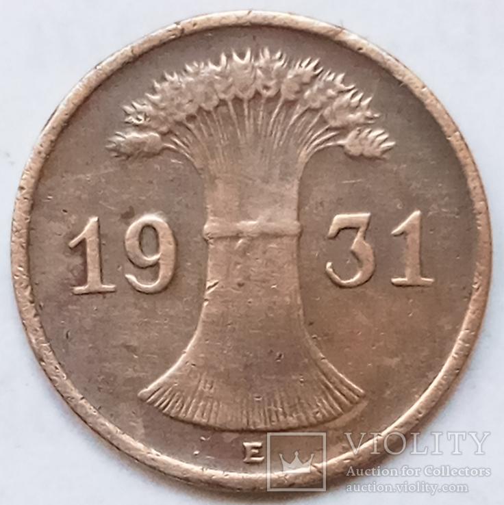 1 рейхспфенниг 1931 г. Веймарская республика, Мульденхюттен, фото №2