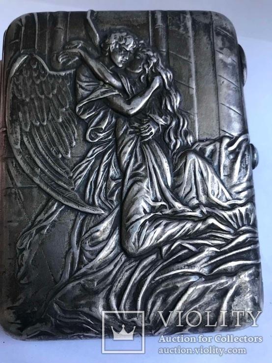 Портсигар серебро 84, клеймо, по картине « Успокоение» М.Зичи к поэме Лермонтова « Демон»