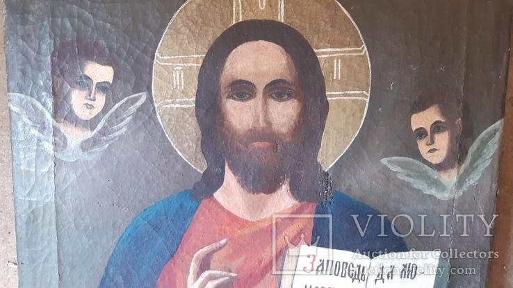 Икона (Спаситель на холсте 70×85 см.), фото №3