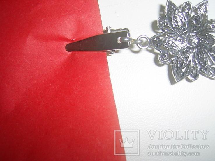 Брошь-клипса  - застёжка для жилета с 2  держателями, фото №5