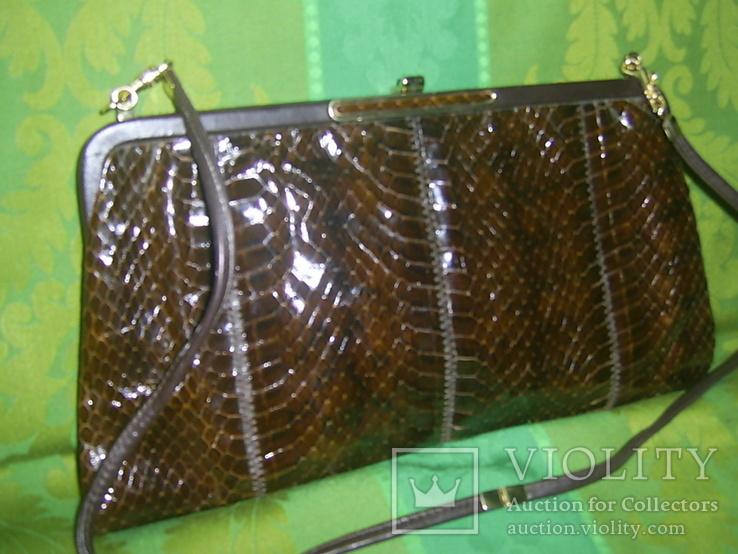 Сумочка-клатч из кожи змеи брендовая Jane Shilton Англия, фото №9