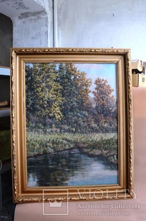 Старая большая картина в раме., фото №2
