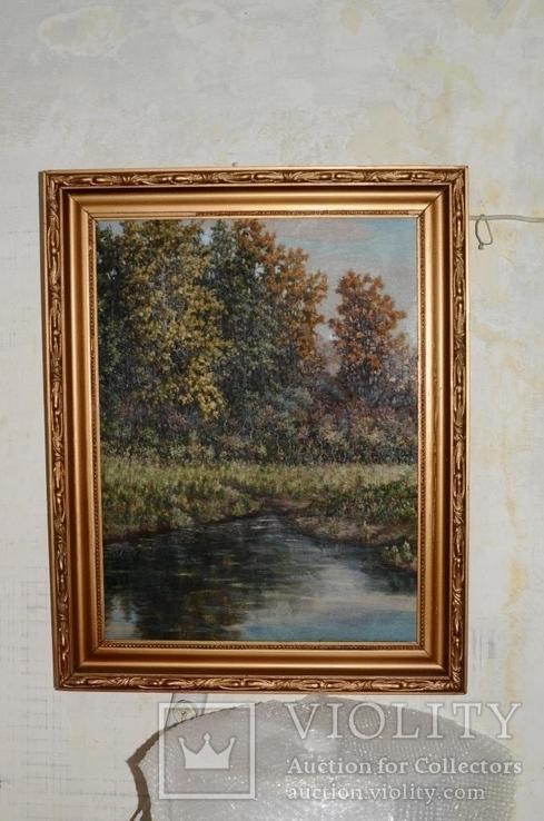 Старая большая картина в раме., фото №3