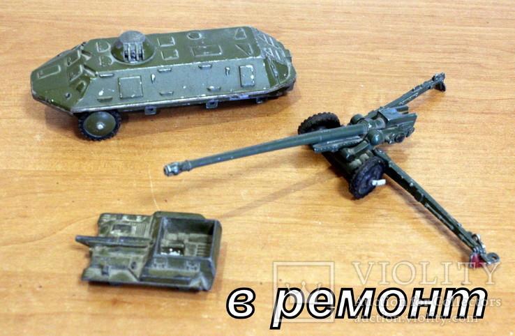 Лот детской военной техники из металла на реставрацию. есть пушка., фото №2