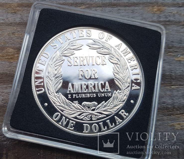 США 1 доллар 1996 г. Государственная и муниципальная служба. Серебро. Пруф, фото №3