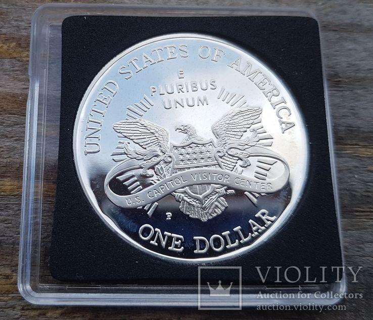 США 1 доллар 2001 г. Первое собрание Конгресса в Капитолии в 1800 г. Серебро Пруф, фото №3