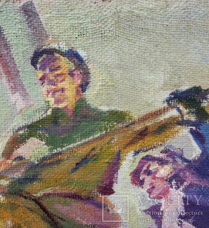 """В.Кнышевский""""На стройках Родины"""", х.м.69*59см, фото №5"""