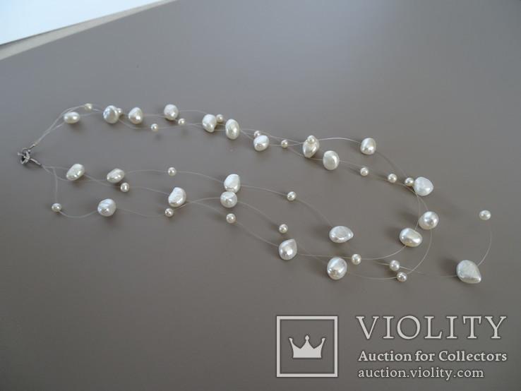 Трехрядное жемчужное ожерелье, серебро., фото №2