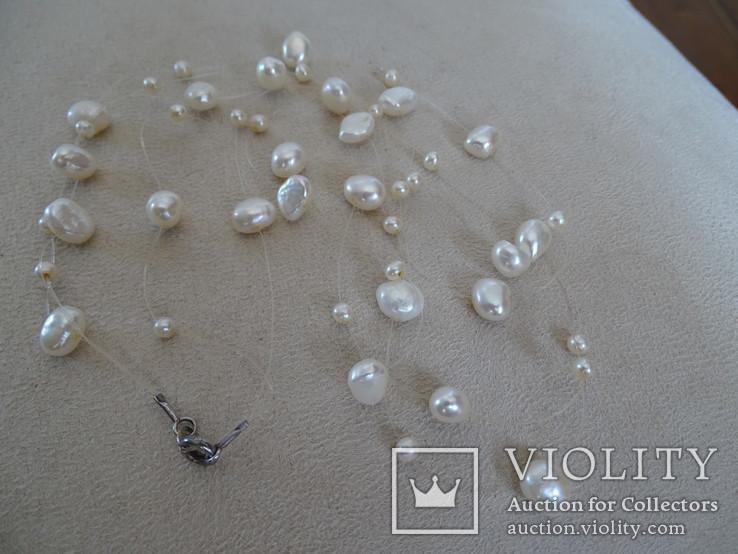 Трехрядное жемчужное ожерелье, серебро., фото №3