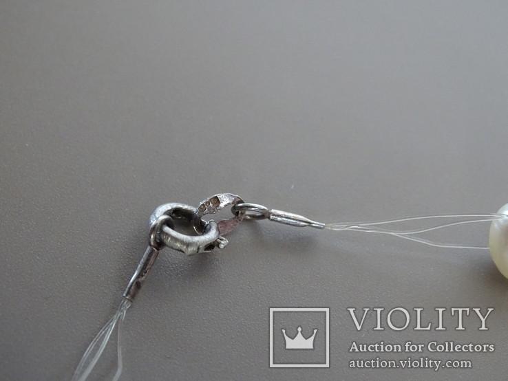 Трехрядное жемчужное ожерелье, серебро., фото №5