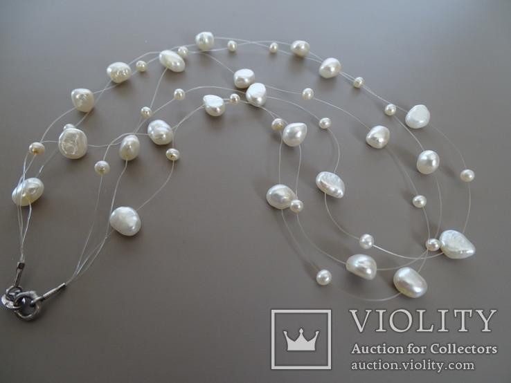 Трехрядное жемчужное ожерелье, серебро., фото №6