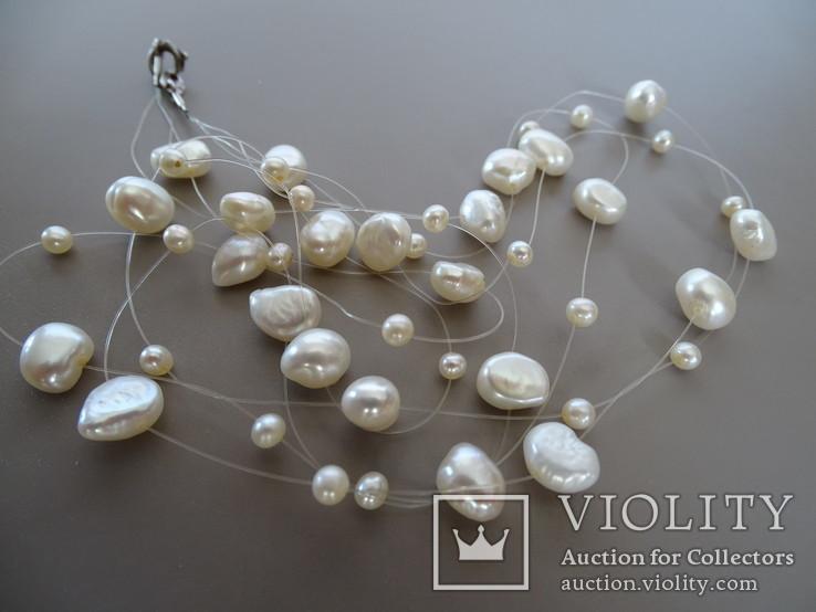 Трехрядное жемчужное ожерелье, серебро., фото №7