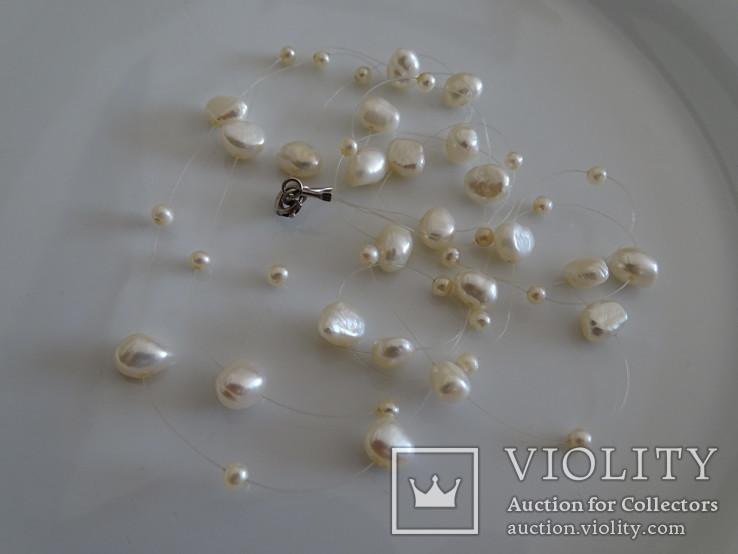 Трехрядное жемчужное ожерелье, серебро., фото №8