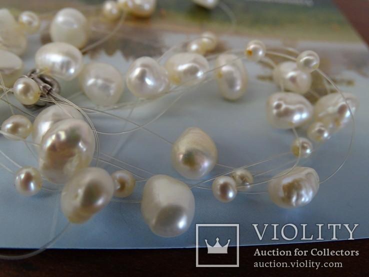 Трехрядное жемчужное ожерелье, серебро., фото №9