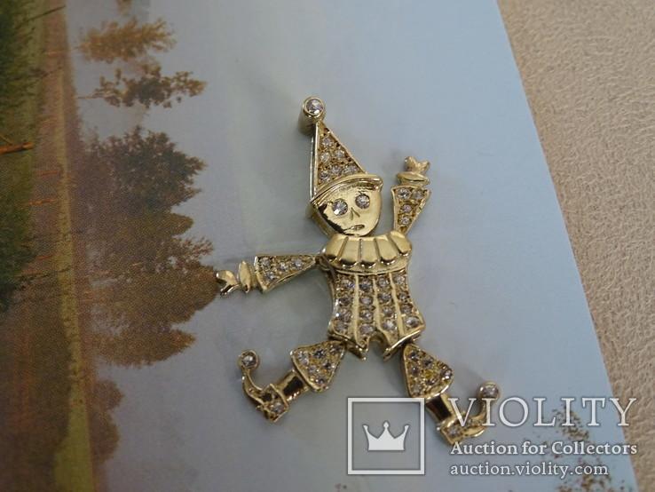 """Подвеска-кулон """"Арлекино"""". Серебро, позолота, камни., фото №7"""
