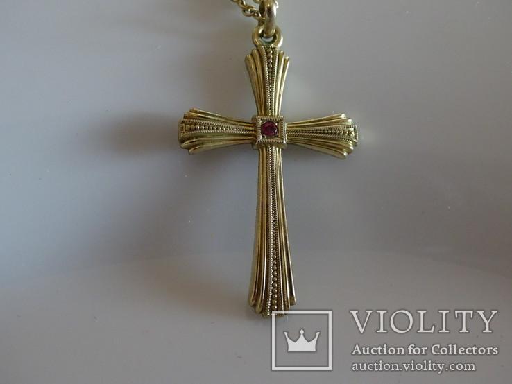 Крестик с цепочкой. Позолота, камушек., фото №5