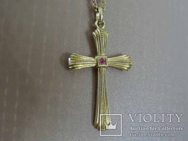 Крестик с цепочкой. Позолота, камушек., фото №11