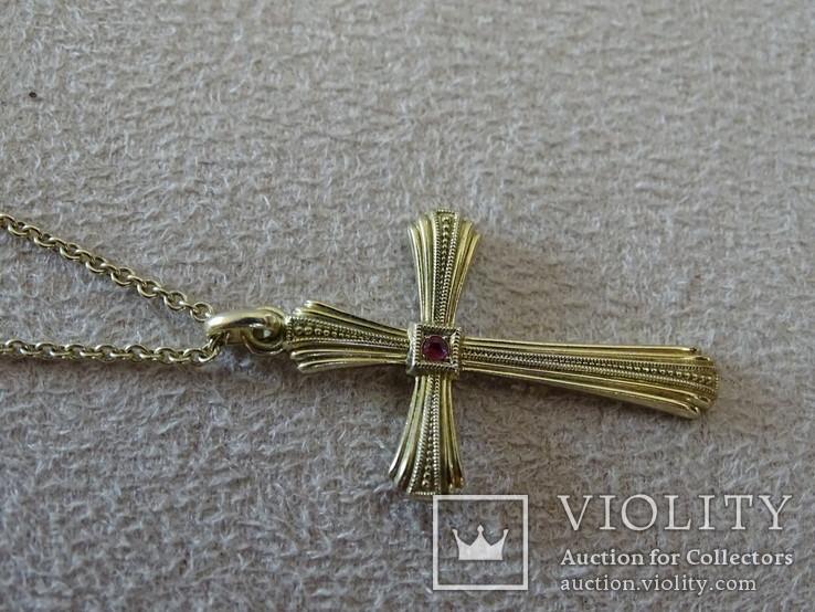 Крестик с цепочкой. Позолота, камушек., фото №13