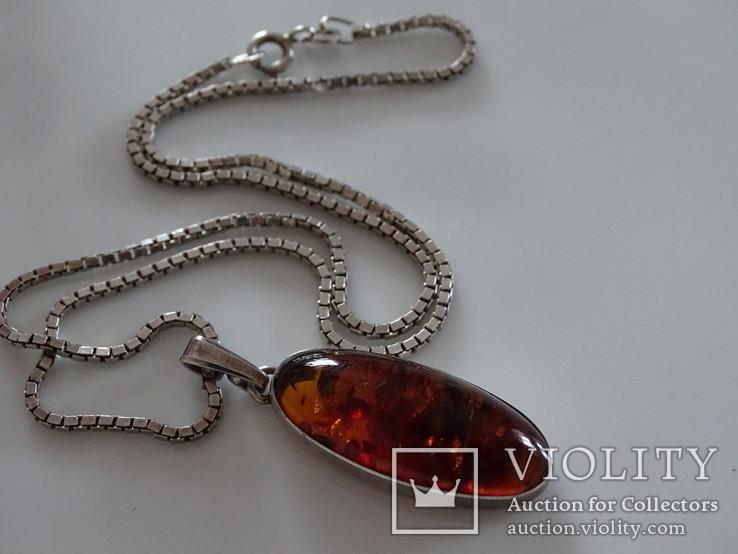 Кулон из янтаря с цепочкой. Серебро. Клейма., фото №2