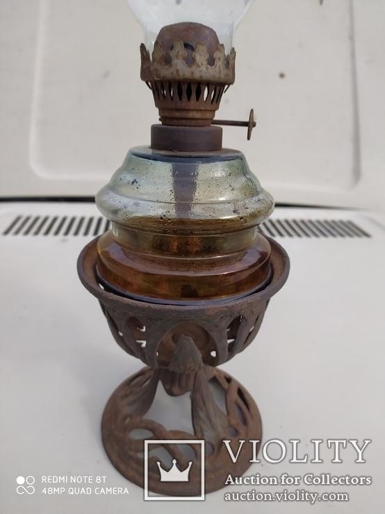 Старинная лампа ночник с металлической подставкой, фото №4