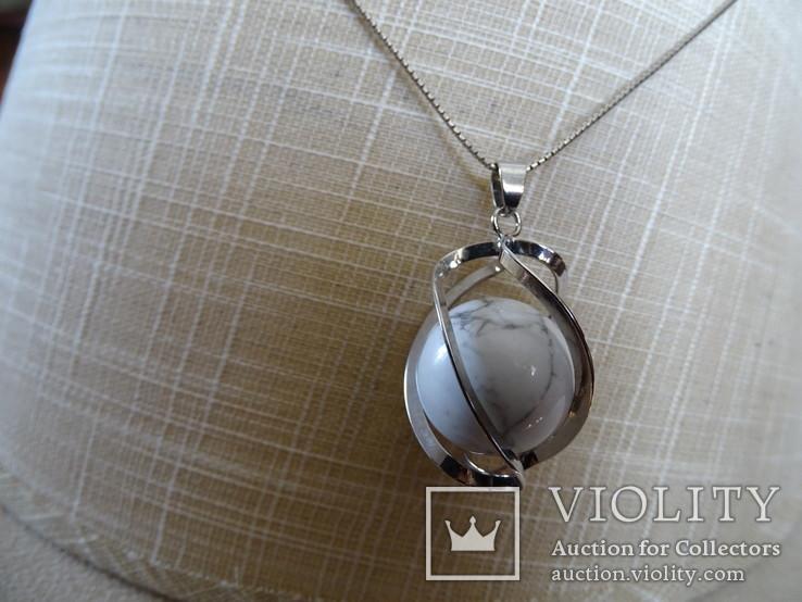 Подвеска спиральная с серебренной цепочкой, камень., фото №4