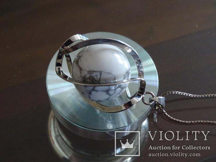 Подвеска спиральная с серебренной цепочкой, камень., фото №5