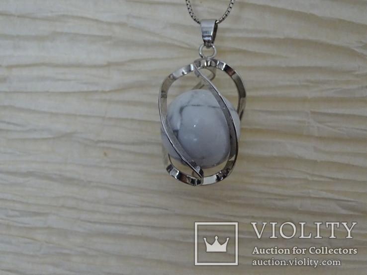 Подвеска спиральная с серебренной цепочкой, камень., фото №6