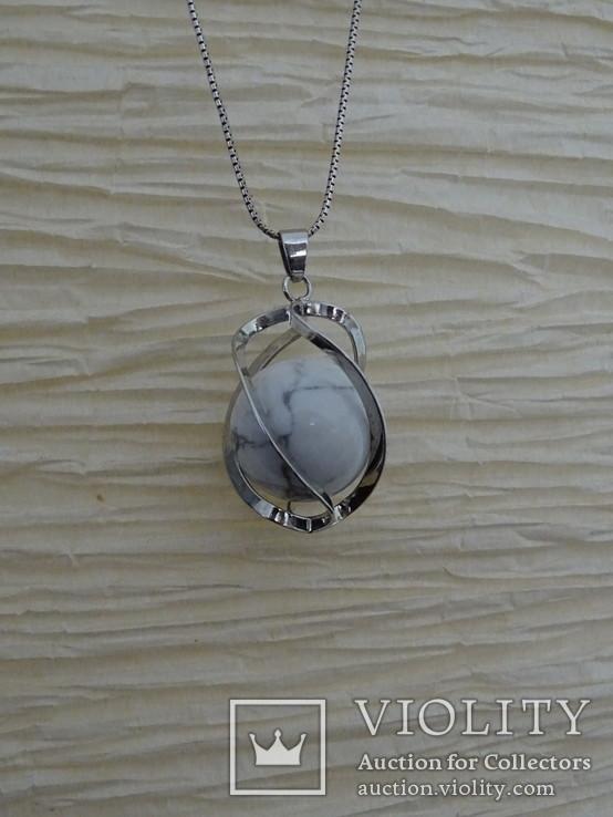 Подвеска спиральная с серебренной цепочкой, камень., фото №7