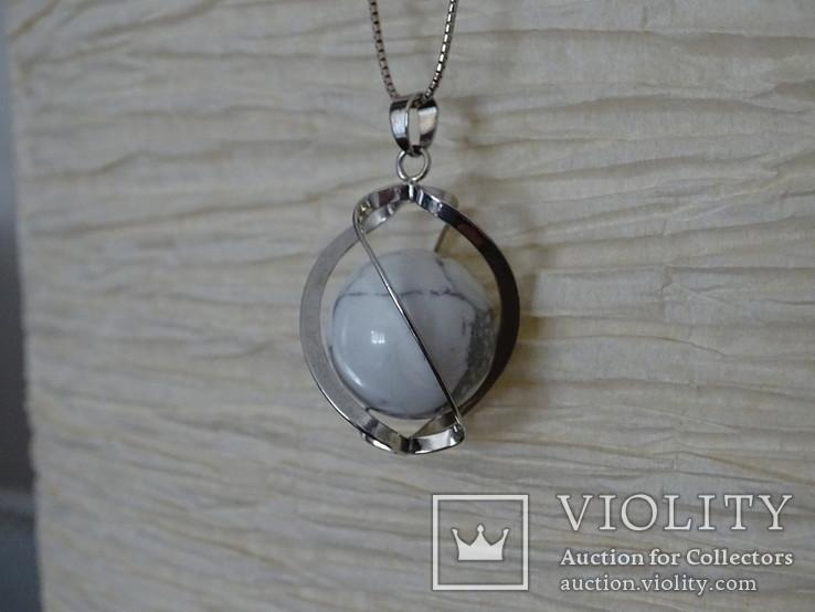 Подвеска спиральная с серебренной цепочкой, камень., фото №8