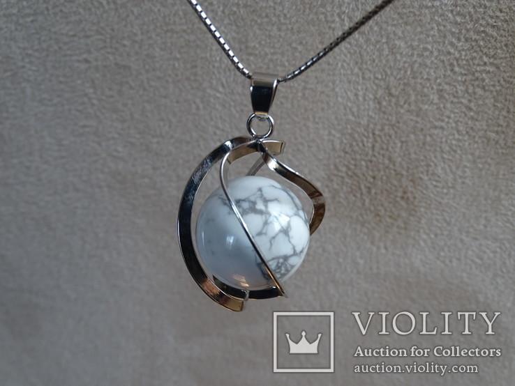 Подвеска спиральная с серебренной цепочкой, камень., фото №2