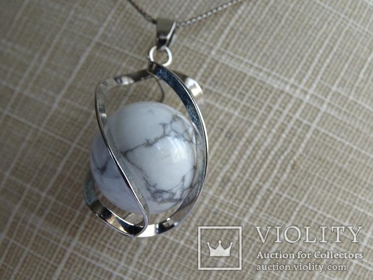 Подвеска спиральная с серебренной цепочкой, камень., фото №11