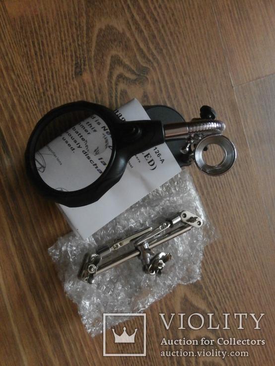 Держатель с LED подсветкой и лупой(третья рука) MG16126-А с кратностью 3.5х и 12x., фото №3