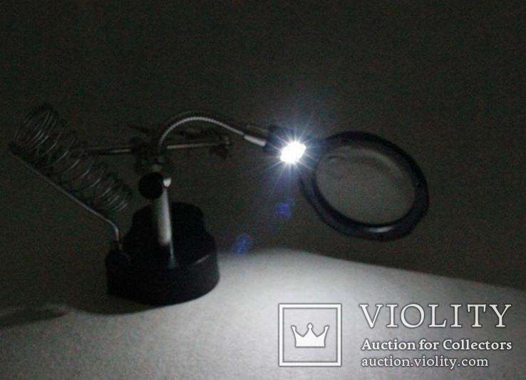 Держатель с LED подсветкой и лупой(третья рука) MG16126-А с кратностью 3.5х и 12x., фото №7