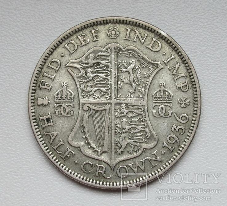 1/2 кроны 1936 г. Великобритания, серебро, фото №7