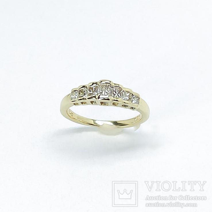 "Винтажное золотое кольцо с бриллиантами огранки ""принцесса"", фото №4"