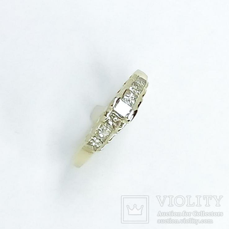 "Винтажное золотое кольцо с бриллиантами огранки ""принцесса"", фото №5"