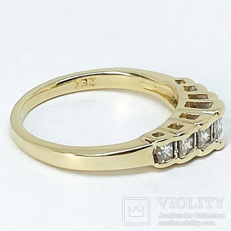 "Винтажное золотое кольцо с бриллиантами огранки ""принцесса"", фото №8"