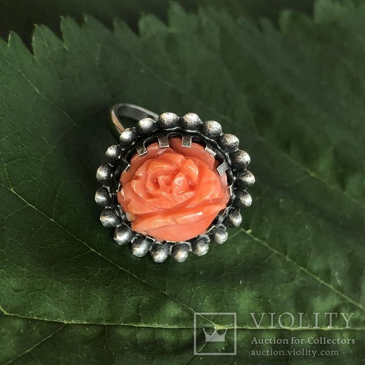 Серебряное кольцо с розой из коралла, ручная резьба, Италия, фото №3