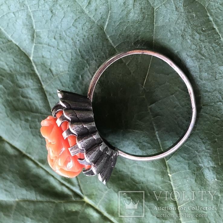 Серебряное кольцо с розой из коралла, ручная резьба, Италия, фото №4