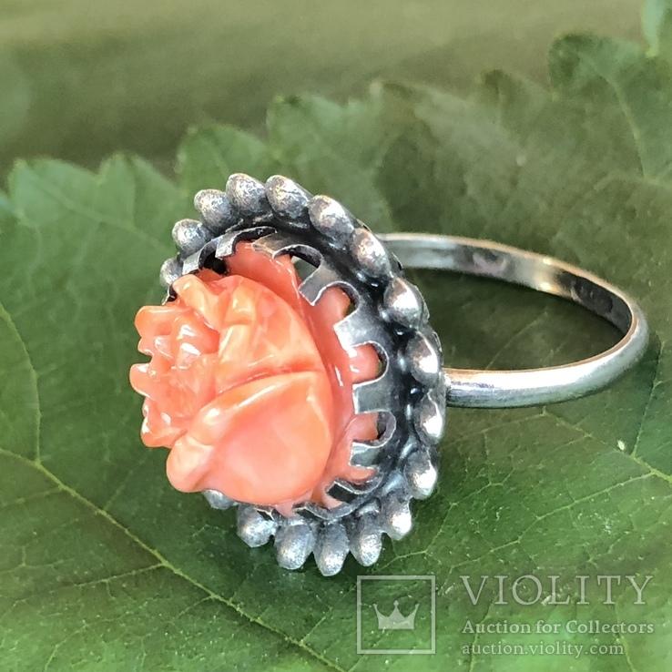 Серебряное кольцо с розой из коралла, ручная резьба, Италия, фото №5