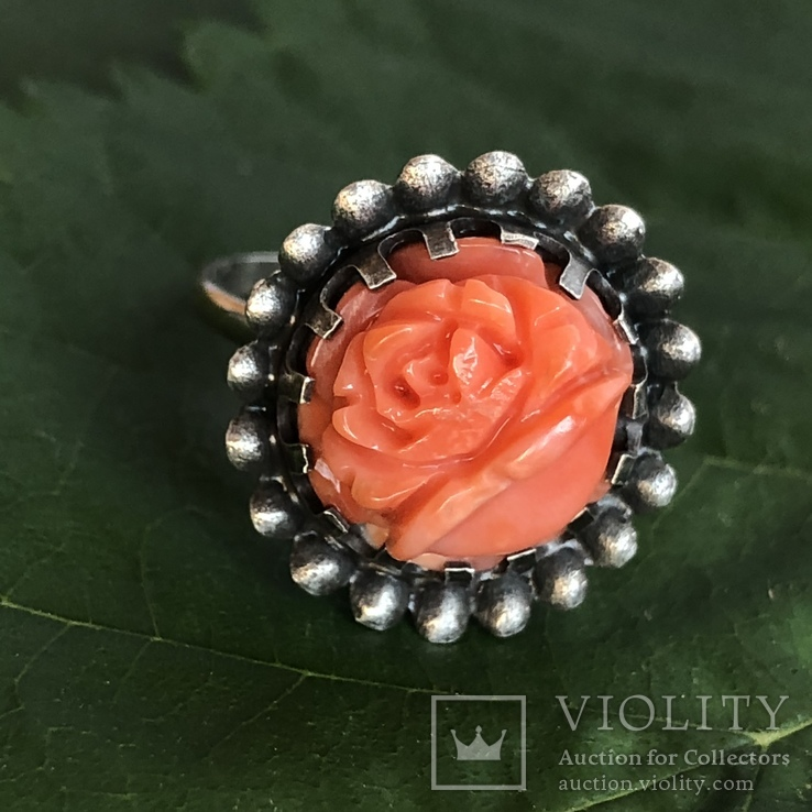 Серебряное кольцо с розой из коралла, ручная резьба, Италия, фото №2
