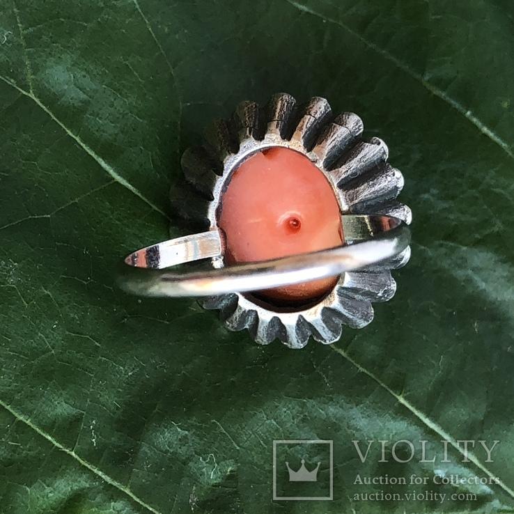 Серебряное кольцо с розой из коралла, ручная резьба, Италия, фото №8
