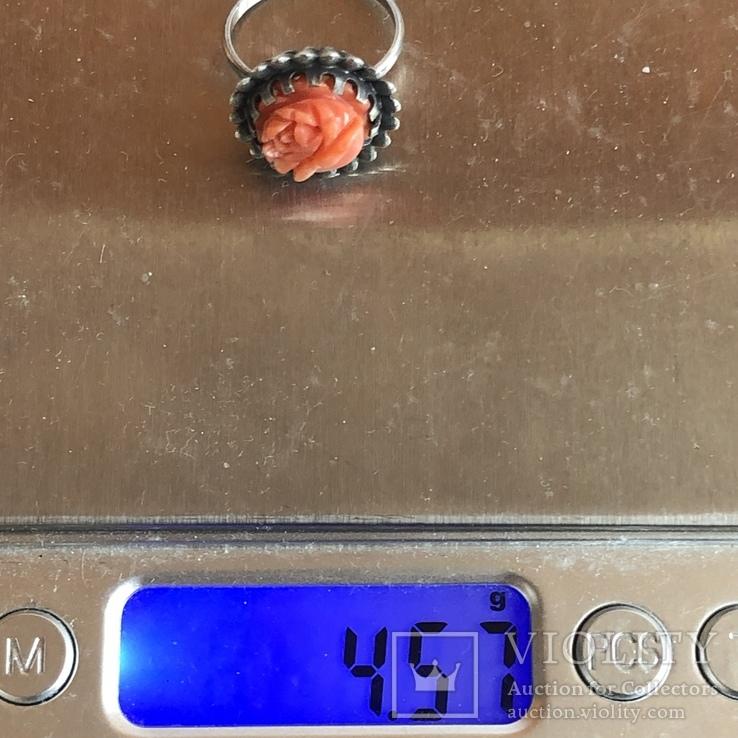 Серебряное кольцо с розой из коралла, ручная резьба, Италия, фото №10