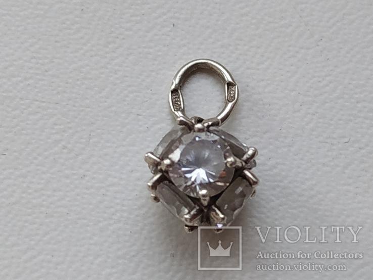 Кулон с камнями серебро 925 проба, фото №2