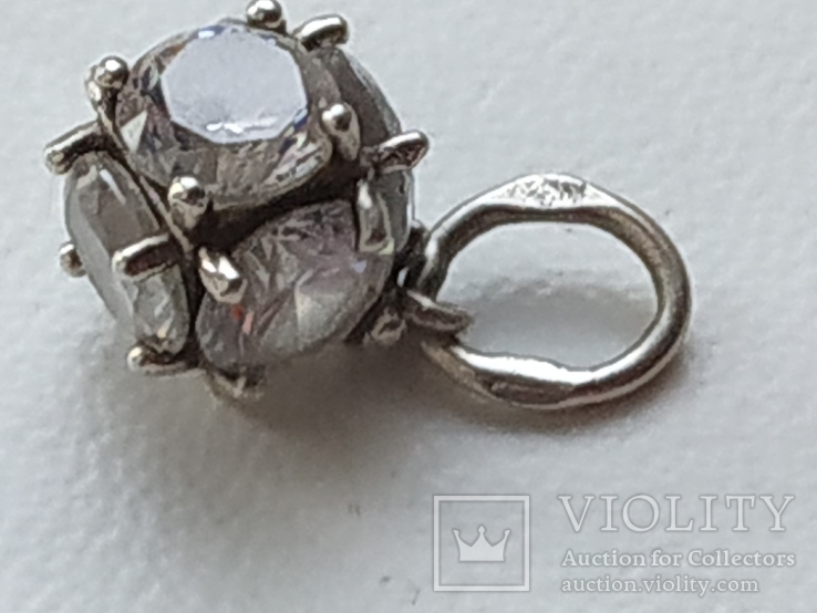 Кулон с камнями серебро 925 проба, фото №4