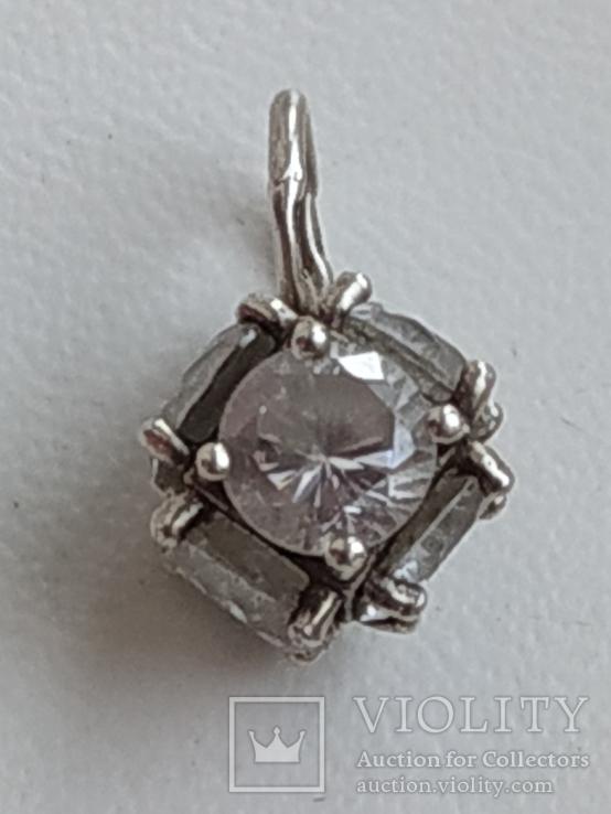 Кулон с камнями серебро 925 проба, фото №5